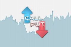 Binary option grayscale chart with put and call arrows. 3D illustration Royalty Free Stock Image