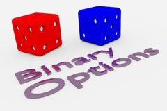 Binary Options concept. 3D illustration of Binary Options title written in embossed letters, with two dice Royalty Free Stock Image