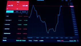Binary options financial statistics, asset prices going up and down. Trade, on black background of screen charts and figures of exchange trades are visible royalty free illustration