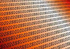 Binary in orange. Background with binary data and gradient orange colors