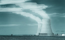 Binary pollution. Nuclear power plant image textured with binary numbers Royalty Free Stock Images