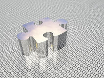 Binary puzzle. Binary code and puzzle piece Stock Images