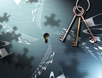 Binary Puzzle Keys. Binary Code, Keys and Puzzle Piece shadows comprise this image Royalty Free Illustration