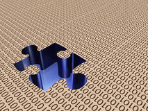 Binary puzzle. Binary landscape with puzzle piece missing Royalty Free Stock Photography