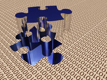 Binary puzzle. With piece removed Royalty Free Stock Image