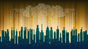 Binary rain in digital abstract city, the flow of data with the cloud, high-tech background Royalty Free Stock Image