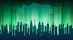 Binary rain in digital abstract city, the flow of data with the cloud, high-tech background
