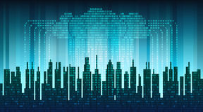 Binary rain in digital abstract city, the flow of data with the cloud, high-tech background Stock Photo