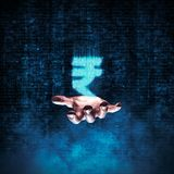 Binary rupee hand. 3D illustration of glowing rupee symbol formed by binary digits floating above open hand Royalty Free Stock Photography