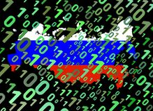 Binary and Russian Federation map flag Royalty Free Stock Photo