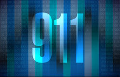 911 binary sign concept illustration. Design over blue Royalty Free Stock Photos