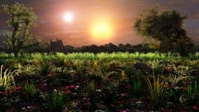 Binary Solar System Fantasy Landscape Stock Image