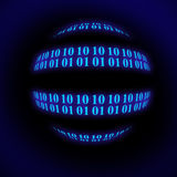 Binary Sphere. Binary code row as digital background Stock Photos