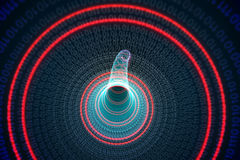 Binary spiral with red glow Stock Photos