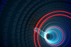 Binary spiral with red glow Stock Photo