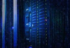 binary strumień spływowy ewidencyjny Pojęcie ostrze serwer, magazyn, duży dane nowożytny komputer mainframe przechowywanie na dys obraz stock