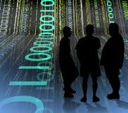 Binary Talk2. 3 men meeting stock illustration