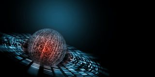 Binary technology concept. Sphere created from digital number with glowing red color at center royalty free stock photo