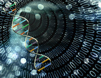 Binary tunnel and DNA Stock Photography