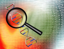 Binary tunnel and DNA Royalty Free Stock Image
