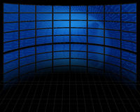 Binary Tunnel on Set of Screens. Binary Tunnel on Large Set of Screens Royalty Free Stock Images