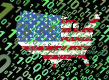 Binary and USA map flag Stock Photo