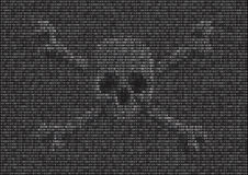 Binary Virus. Skulls & crossbones appearing in binary code Royalty Free Stock Photo