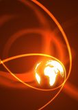Binary World. Global background with glowing red rings royalty free stock photography