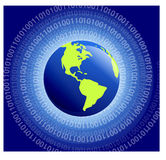 Binary World. Swirl binary code around the globe Royalty Free Stock Image