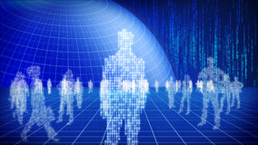 Binary world concept. Blue binary world concept with binary  people, globe and space Royalty Free Stock Photo