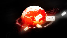 Binary world with email messages Stock Photo
