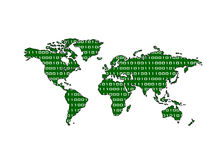 Binary World Map (Green). Green world map with binary pattern Stock Photo