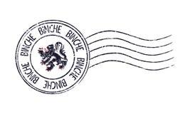 Binche, sello postal del grunge de Bélgica Fotografía de archivo libre de regalías