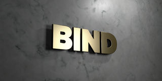 Bind - Gold sign mounted on glossy marble wall  - 3D rendered royalty free stock illustration. This image can be used for an online website banner ad or a Royalty Free Stock Image