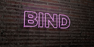 BIND -Realistic Neon Sign on Brick Wall background - 3D rendered royalty free stock image Royalty Free Stock Image