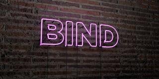 BIND - Realistisch Neonteken op Bakstenen muurachtergrond - 3D teruggegeven royalty vrij voorraadbeeld royalty-vrije stock afbeelding