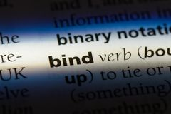 Bind. Word in a dictionary.  concept Royalty Free Stock Images