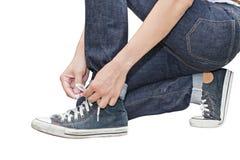 Bind zijn Hoge Hoogste Tennisschoenen van het schoenen Retro Canvas royalty-vrije stock afbeelding