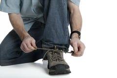 Binden Sie den Schuh stockbild
