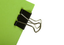 Binder Clip with Green Paper Stock Image