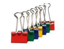 Binder clips colored on white background Stock Photography