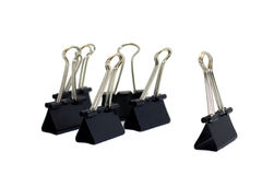 The binder clips in the office Royalty Free Stock Images