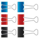 Binder clips set. Paper clips collection. Stock Photography