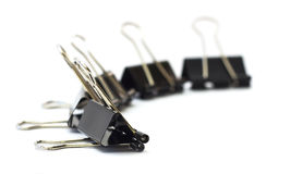 Binder clips. On white background Royalty Free Stock Photography