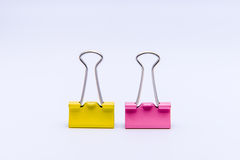 Binder clips  on white background Stock Photo