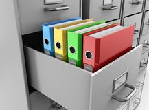 Binder folders in filing cabinet. 3d illustrations of multicolored binder folders in grey filing cabinet Royalty Free Stock Image