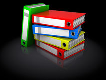 Binder folders stack. 3d illustration of binder folders stack over black background Stock Photos