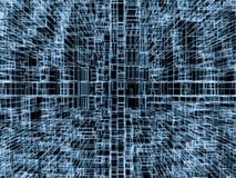 binder glödande blått 3d ramlinjer över svart Arkivfoto