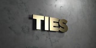 Binder - guld- tecken som monteras på den glansiga marmorväggen - den 3D framförda fria materielillustrationen för royalty Arkivfoton