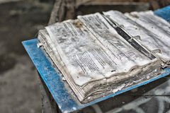 Binder old. Binder containing an instruction manual abandoned and dirty royalty free stock images